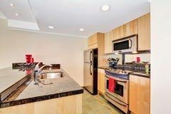 Interior prático pequeno da cozinha Prédio de apartamentos em Seattle imagens de stock