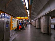 Interior of the Prague Metro in the Czech Republic royalty free stock image