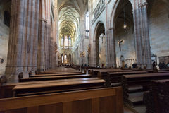 Interior of Prague`s Gothic jewel, St. Vitus Cathedral Royalty Free Stock Images