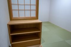 Interior of a prayer room at Tempozan Market Place in Osaka. Mus stock photography