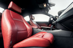 Interior of premium car with leather red seats Royalty Free Stock Image