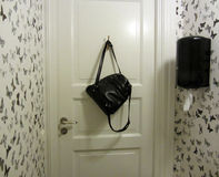 Interior preto e branco do toalete Fotos de Stock Royalty Free