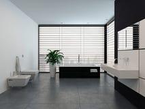 Interior preto e branco moderno luxuoso do banheiro Fotografia de Stock Royalty Free
