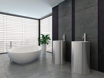 Interior preto e branco moderno luxuoso do banheiro Fotos de Stock Royalty Free