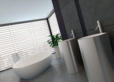 Interior preto e branco moderno luxuoso do banheiro Imagem de Stock Royalty Free