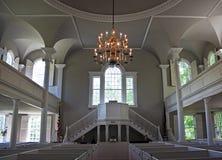 Interior, primera iglesia vieja, Bennington, Vermont Imagenes de archivo