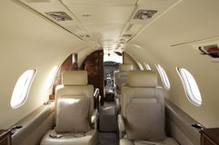 Interior privado del jet Imagen de archivo