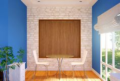 Interior of private dining area with mock up wall. 3D rendering Stock Image