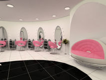Interior of Professional beauty salon. Sofa on relaxation zone and workplaces in modern interior. semicircular construction walls