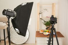 Interior of professional photo studio while food. Interior of professional photo studio while shooting food Royalty Free Stock Photos