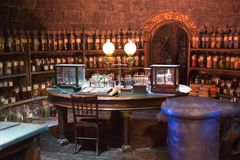 Interior of professor Snape magic jags collection. Decoration Warner Brothers Studio for Harry Potter. UK. Leavesden, London, UK - 1 March 2016: Interior of stock photos