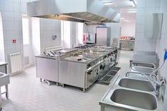 Interior profissional da cozinha Foto de Stock Royalty Free
