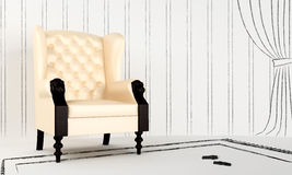 Interior project - Green classic armchair Stock Photo