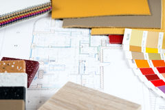 Interior project with palette, material samples Stock Photography