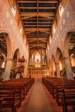 Interior of the Protestant neo-Gothic Church of St. Laurence stock photo
