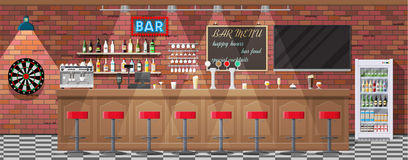 Interior of pub, cafe or bar. Drinking establishment. Interior of pub, cafe or bar. Bar counter, chairs and shelves with alcohol bottles. Glasses, tv, dart Stock Photography