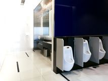 Interior of public clean toilet in shared toilet there is a wide selection of sinks with mirrors. Clean toilet royalty free stock photo