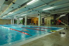 Interior of a public swimming pool stock photo