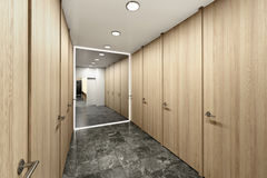 Interior of public toilet with a mirror. 3d illustration vector illustration