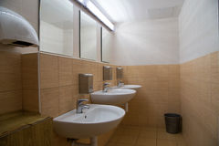 Interior of a public toilet Stock Photos