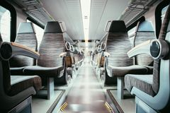 Interior of a public transport train, empty seats. Interior of a public transport train, blurry background bus commuting subway journey travel seats empty nobody stock images