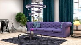 Interior with purple sofa. 3d illustration Stock Photography