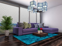 Interior with purple sofa. 3d illustration Stock Photography