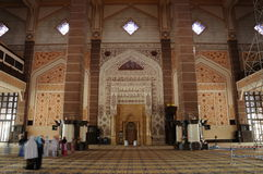 Interior of Putra Mosque in Putrajaya, Malaysia Royalty Free Stock Photos