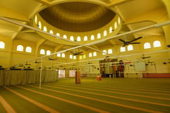 Interior of Putra Nilai Mosque in Nilai, Negeri Sembilan, Malaysia. Negeri Sembilan, Malaysia – March 06, 2014: Putra Nilai Mosque was located at Nilai, Negeri Royalty Free Stock Photography