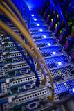 Interior of rack mounted servers. Close up in data center Stock Photos