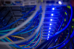 Interior of rack mounted servers. Close up in data center Royalty Free Stock Photo