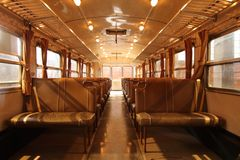 Interior railway passenger carriage, without passengers royalty free stock image
