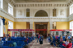 Interior of railway station building stock images