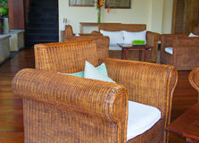 Interior with rattan furniture Stock Images