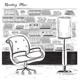 Interior reading room.Vector black sketchy illustration on white Royalty Free Stock Photos