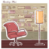 Interior reading room.Vector color hand draw sketchy illustration Stock Images