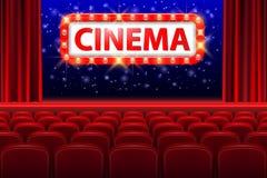 Interior realístico do salão do cinema com assentos vermelhos Sinal retro do cinema do estilo com quadro da luz do ponto Cartaz d ilustração do vetor