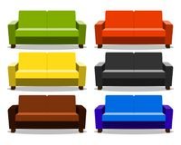 Interior with realistic set sofa, lounge, settee couch, ottoman icon. couch realistic cartoon  on white. Background. Objects for interior design Vector Royalty Free Stock Photos