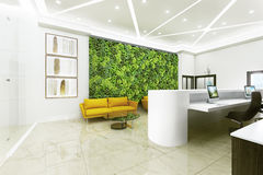 Interior reception with landscaping. Stock Photo