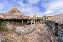 Interior of the reconstructed family nucleus building in Citania de Sanfins. A Castro Village (fortified Celtic-Iberian pre-historic settlement) in Pacos de Royalty Free Stock Image