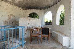 The interior of the reconstructed tomb Rabbi Nakhman Katufa near the kibbutz Baram in Western Galilee in Israel. Bar`am, Israel, June 09, 2018 : The interior of Royalty Free Stock Image