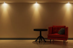 Interior with red armchair and artificial lighting. 3d illustration Royalty Free Stock Photo