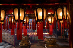 Interior red Chinese lanterns of Man Mo Temple Hong Kong Royalty Free Stock Photography