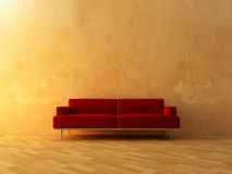 Interior - Red couch on empty wall. Interior - Red sofa isolated on empty wall Royalty Free Stock Image