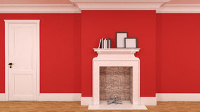 Interior in red with a fireplace, books and empty pictures. 3D Royalty Free Stock Photos