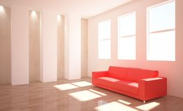 Interior with red furniture Royalty Free Stock Photography