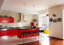 Interior. Red kitchen Stock Photos