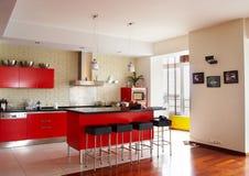 Interior. Red kitchen Stock Photos