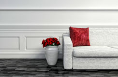 Interior with red roses and white sofa. 3d illustration Stock Photos