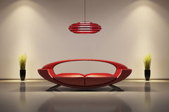 Interior with red sofa 3d Royalty Free Stock Images